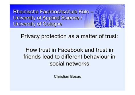 A Matter Of Trust A Christian Blackthorpe Volume 3 by Privacy Protection As A Matter Of Trust How Trust In