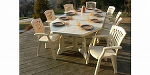 Salon De Jardin Beige : salon templa avec table 170 215 260 130cm beige 8 fauteuils oogarden france ~ Teatrodelosmanantiales.com Idées de Décoration