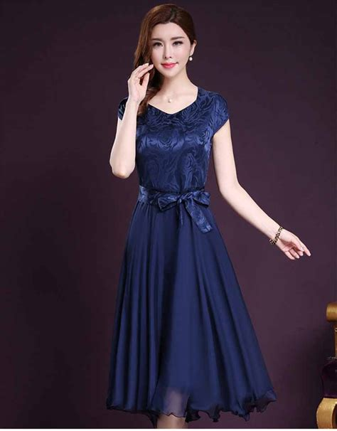 dress pesta biru navy lengan pendek myrosefashioncom