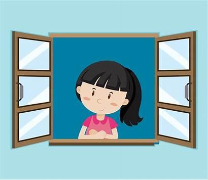 Window Happy Vector Open Outside Clipart Vecteezy