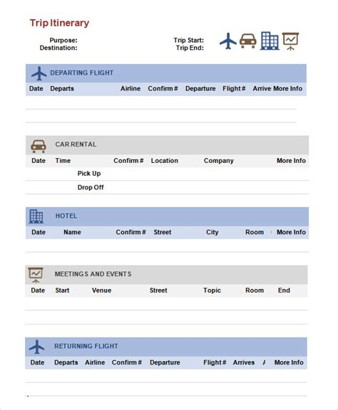 trip itinerary maker trip itinerary template 6 download free documents in