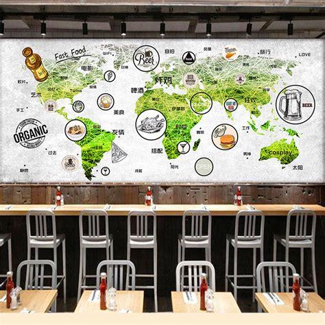 custom wall mural world map mural restaurant tea house