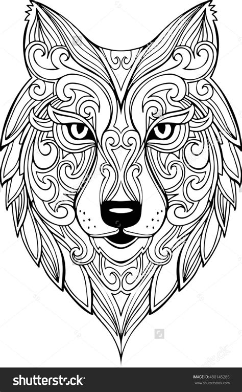 Vector Hand Drawn Doodle Wolf Head Illustration. Zentangle Decorative Wolf Head Drawing For