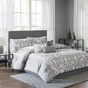 lotus comforter set in grey white bed bath beyond