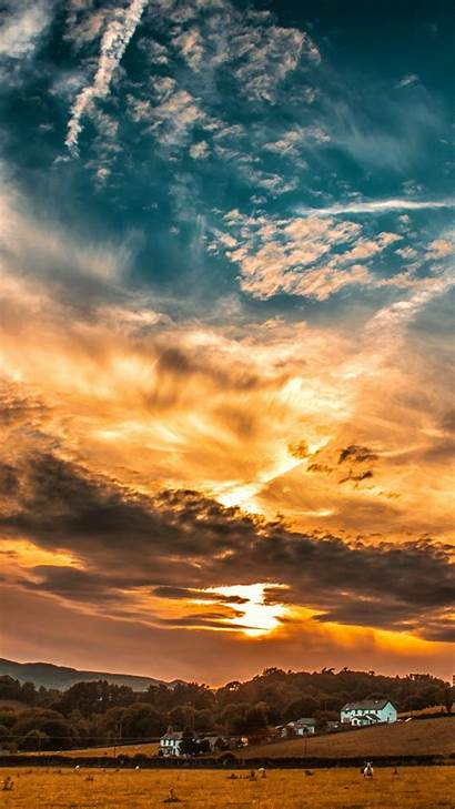 Sunset Sky Clouds Background Wallpapers Horizon Nature