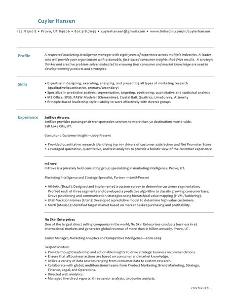 Data Mining Curriculum Vitae by Cuyler Hansen Resume