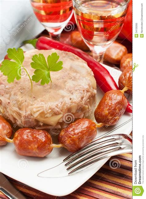 aspic cuisine traditional food aspic jelly royalty free