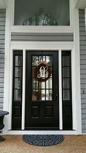 model 440 signet fiberglass front entry door coal black With bronze entry doors