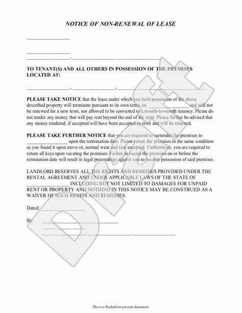 nonrenewal  lease letter template samples letter cover