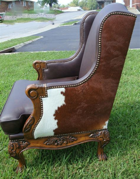 Cowhide Leather Chair by Hair On Hide Cowhide Brown Leather Wing Chair Western