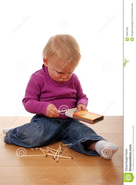 Sitting On The Bench Waiting For You by Toddler Playing With Matches Royalty Free Stock Photos