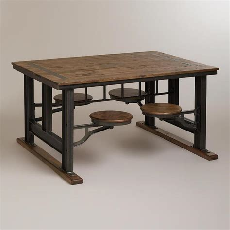 Swing Out Stools Cafeteria Table
