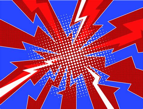 Red Lightning Explosion Pop Art Comic Style Background Stock Vector Illustration Of Abstract