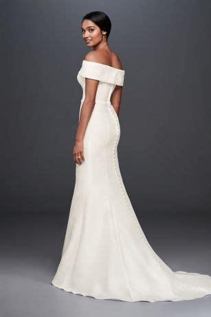 shoulder mikado trumpet wedding dress davids bridal