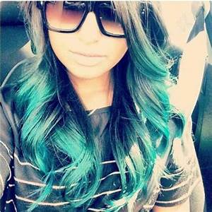Turquoise ombre hair color | Work | Pinterest