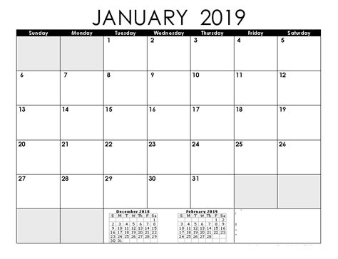 january calendar calendar printable holidays template