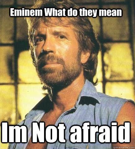Afraid Meme - eminem what do they mean im not afraid chuck norris knows quickmeme