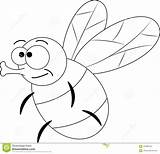 Fly Cartoon Funny Mosca Colorless Coloring Fumetto Divertente Lustige Grappige Vector Fliege Illustrazione Farblose Kleurloze Incolore sketch template