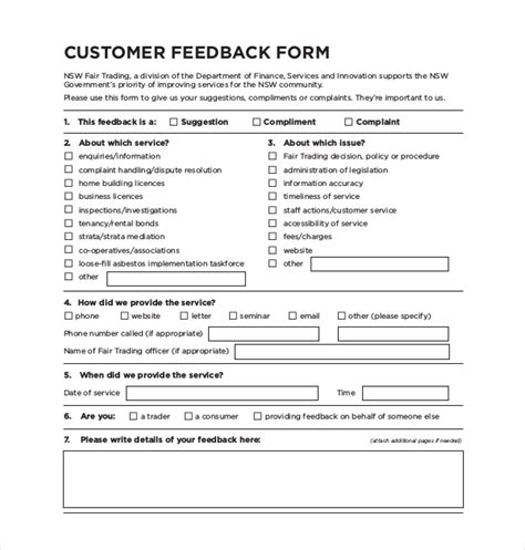 feedback template sle customer feedback form 22 free documents in pdf