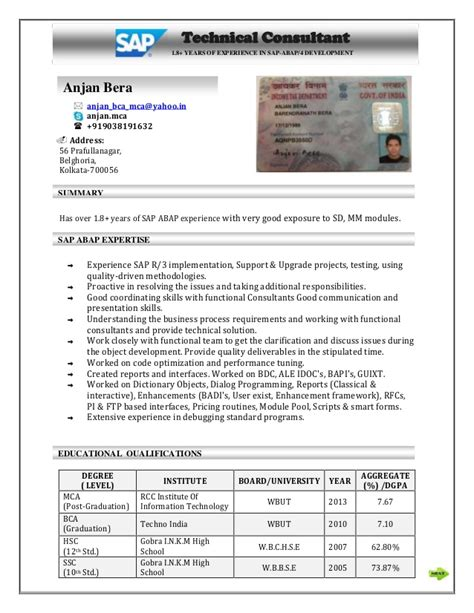anjan sap abap resume with pan card