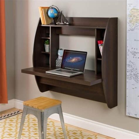 prepac wall mounted floating desk with storage in black prepac floating w storage espresso computer desk