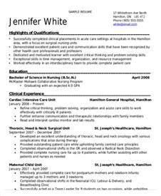 nursing student resume exle 9 free word pdf