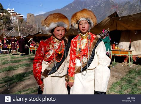 Tibetan wedding party in traditional Tibetan clothes