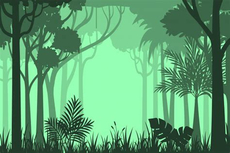 foto de Fundo de floresta silhueta Vetor Premium