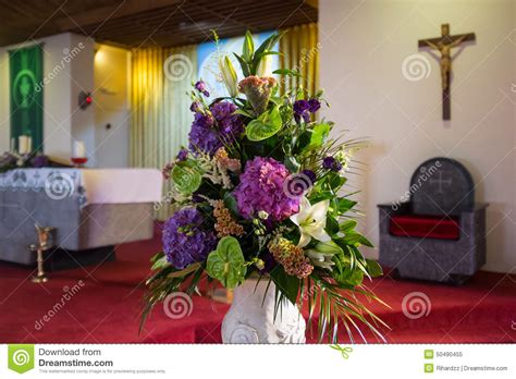 Wedding Flowers In Church Stock Image Image Of Altar