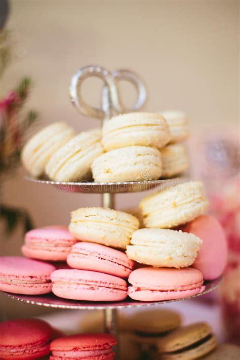 dessert tray silver macaron display at wedding reception stock image image