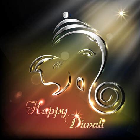 vector 3d ganesha ganapati symbol happy diwali shinny