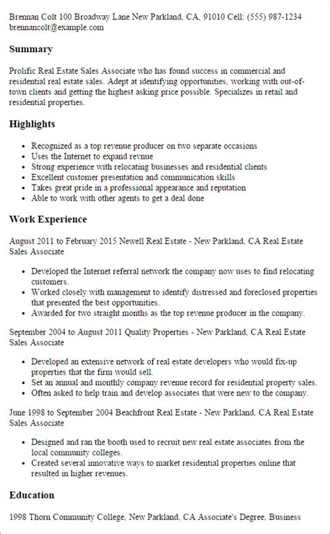 Real Estate Sle Resume by Professional Real Estate Sales Associate Templates To Showcase Your Talent Myperfectresume