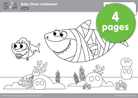 baby shark halloween coloring pages super simple