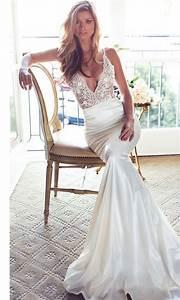 lurelly deep v neck sheath wedding dress wedding dress With deep v neck wedding dress