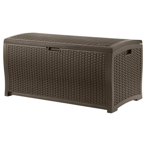 suncast 99 gallon resin wicker deck box outdoor living