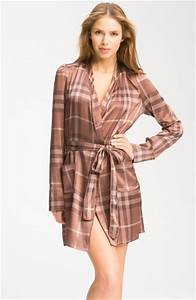 burberry check silk satin robe in brown roan brown lyst With robe bébé burberry