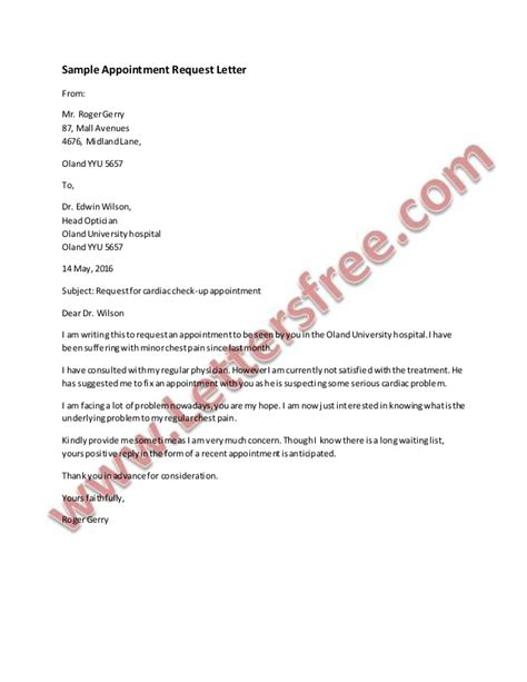 sample appointment request letter