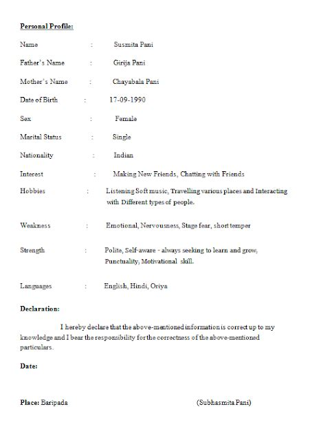 Student Resume Format by Resume Format For B Tech Cse Students