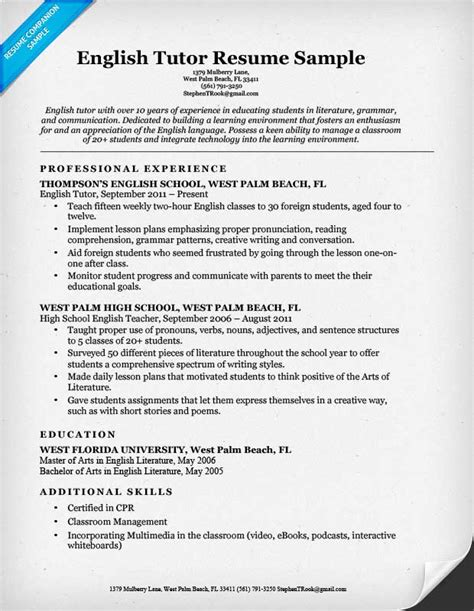 tutor resume sle resume companion