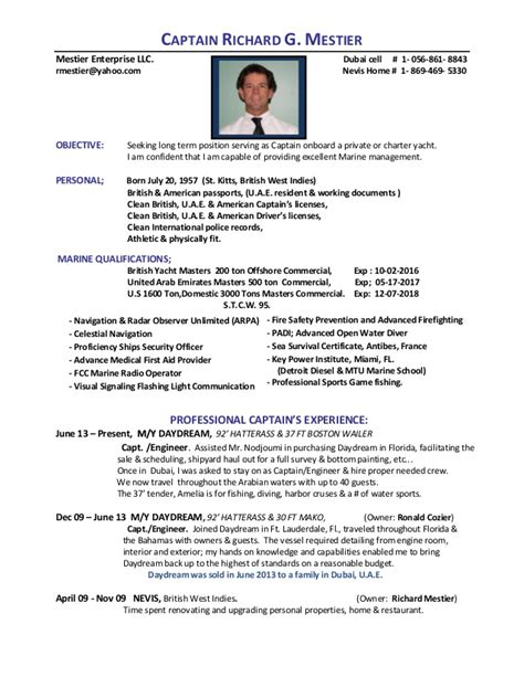 Boat Captain Resume Exles by Mestier Resume