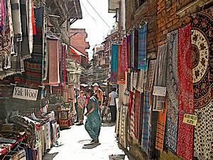 Colorful Fabrics Markets Of Bhaktapur Durbar Square In