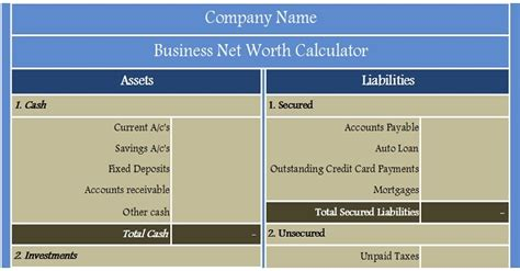 business net worth calculator excel template
