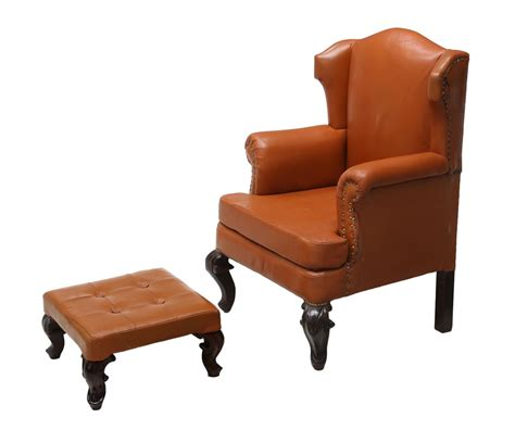 2 leather wingback chair matching ottoman day 2