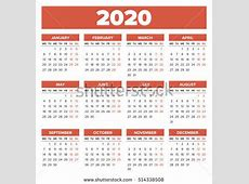 Simple 2020 Year Calendar Week Starts Stock Vector