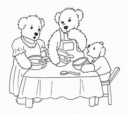 Goldilocks Bears Coloring Three Pages Clipart Printable