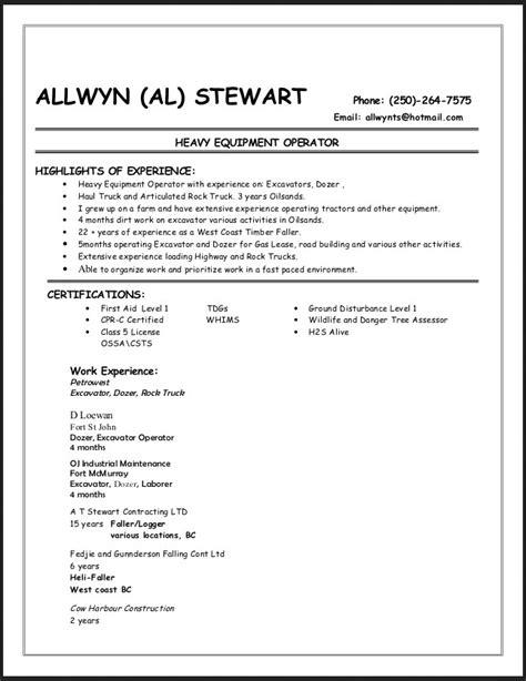 Free Sle Resume Heavy Equipment Operator by Heavy Equipment Operator Resume Sle Resume Format