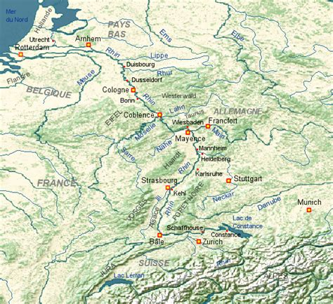 Carte Fleuve Rhin by Le Rhin Fleuve