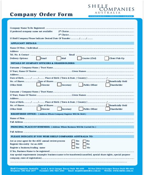 sample business order form  examples  word