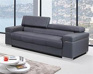 Contemporary sofa upholstered in grey thick italian for Modern leather sofas