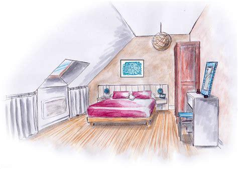croquis de chambre architecture et décoration d intérieur